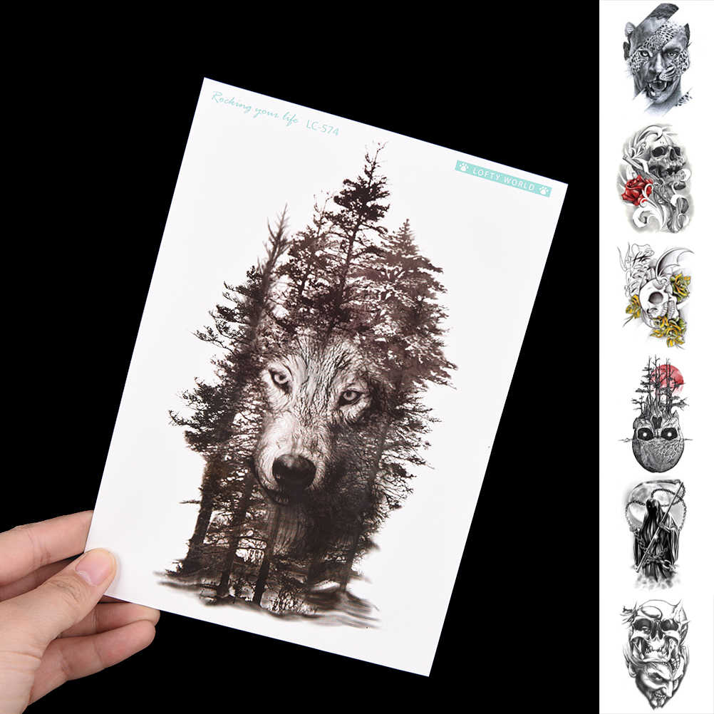 Osobowość fałszywe tatuaże wodoodporna tymczasowa naklejka tatuaż klatka piersiowa wilk las Tatto naklejki Flash tatuaż dla kobiet mężczyzn