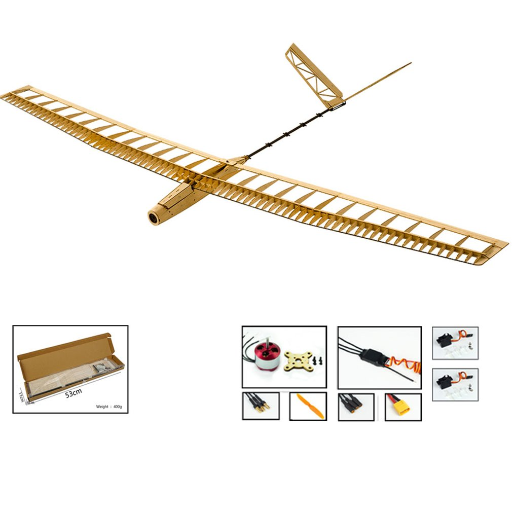 EP UZI Wood Glider Plane With 7 Inch Folded propeller 1.4M Wingspan Biplane RC Airplane Aircraft Model Toys KIT/PNP image
