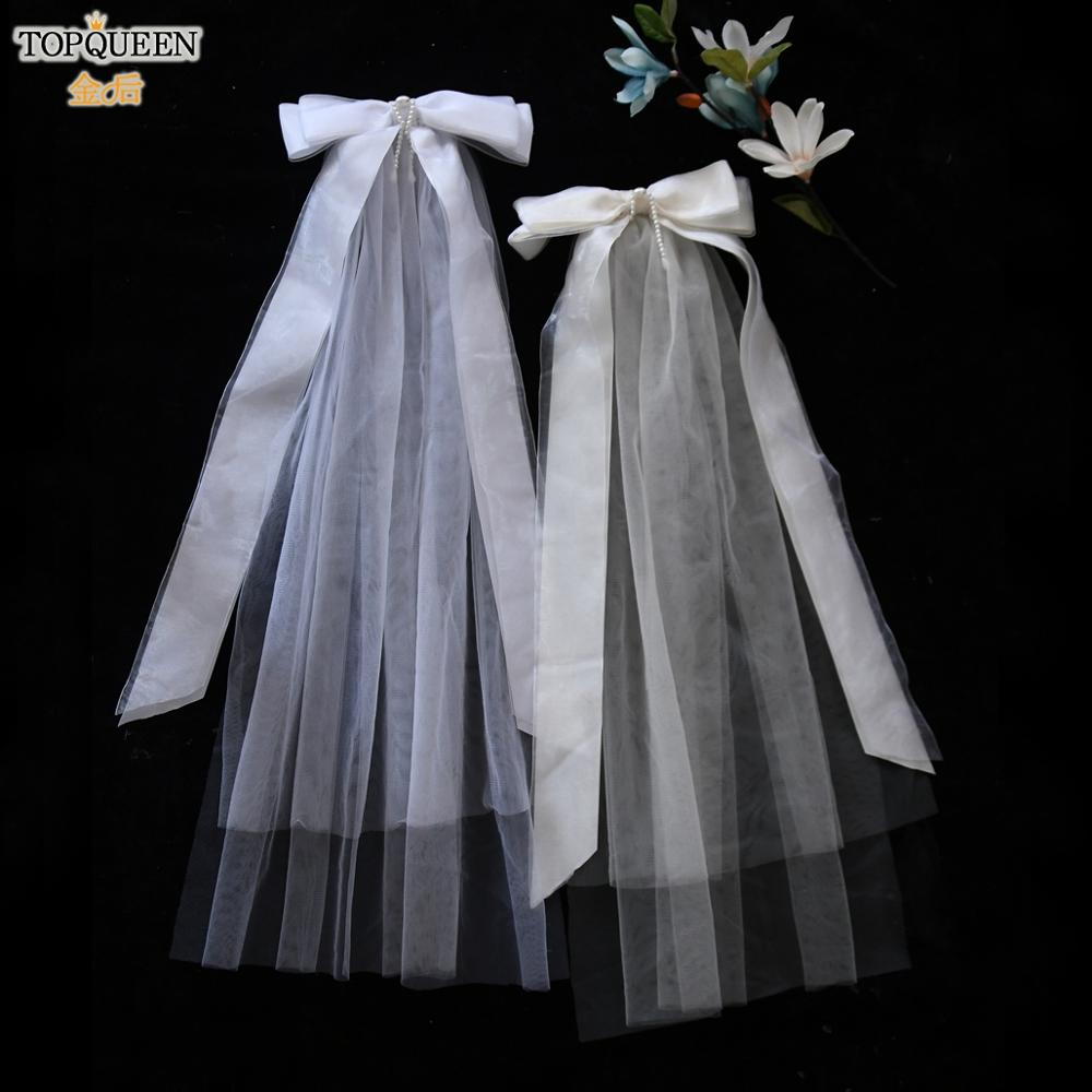 TOPQUEEN V16 Bridal Veil Two-layer Veil Wedding Veils with Comb Bow Veil Pearl Veil White Veil 2019 Wedding Accessories Mariage