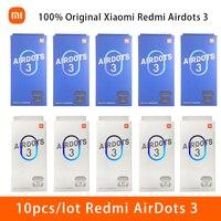 10 unids/lote 100% Original Xiaomi Redmi Airdots 3 auriculares Bluetooth inalámbrico Mi verdadero 5,2 auriculares estéreo bajo con micrófono de manos libres
