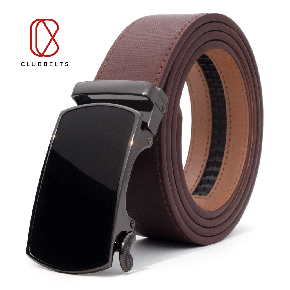 Clubbelts Men's Leather Ratchet Belt With Orthodox Automatic Buckle Genuine Leather Belts For Men