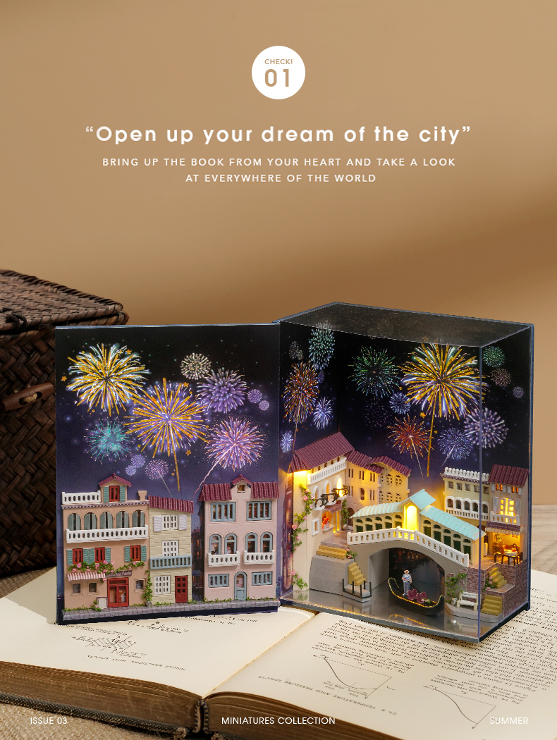 Hot Air Baloon Mini Book 3D DIY Dollhouse