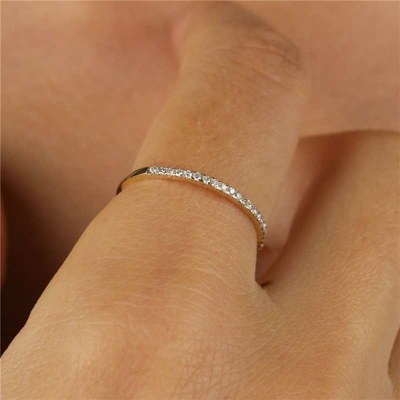 Cute Female Small Crystal Stone Ring 100% Real 925 Sterling Silver Finger Ring Boho Promise Love Engagement Rings For Women