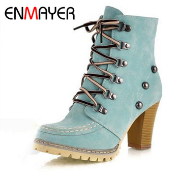 ENMAYER New Stylish High Qulity Ankle Boots for Women Brown Pink Light Green Shoes Round Toe Winter
