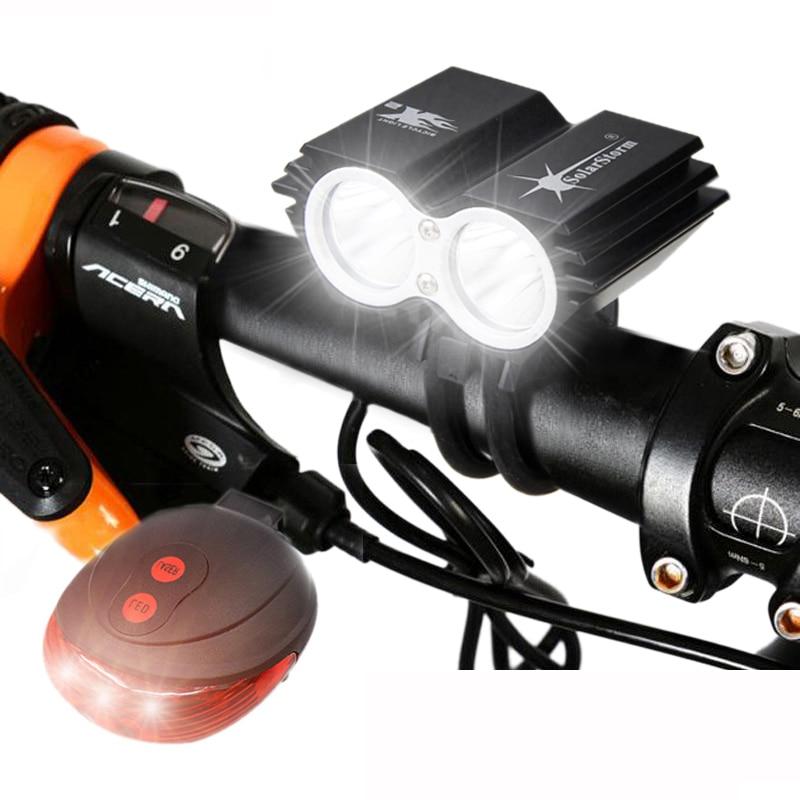 Водонепроницаемый велосипедный фонарь 2 * T6 светодиодный велосипед свет 4 режима MTB дорожный спереди Велоспорт фар + безопасности Предупрежд...