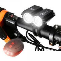 Lumière de vélo avant étanche 2 * T6 lampe LED de vélo 4 Modes vtt vélo de route phare vélo accessoires + avertissement de sécurité lampe arrière