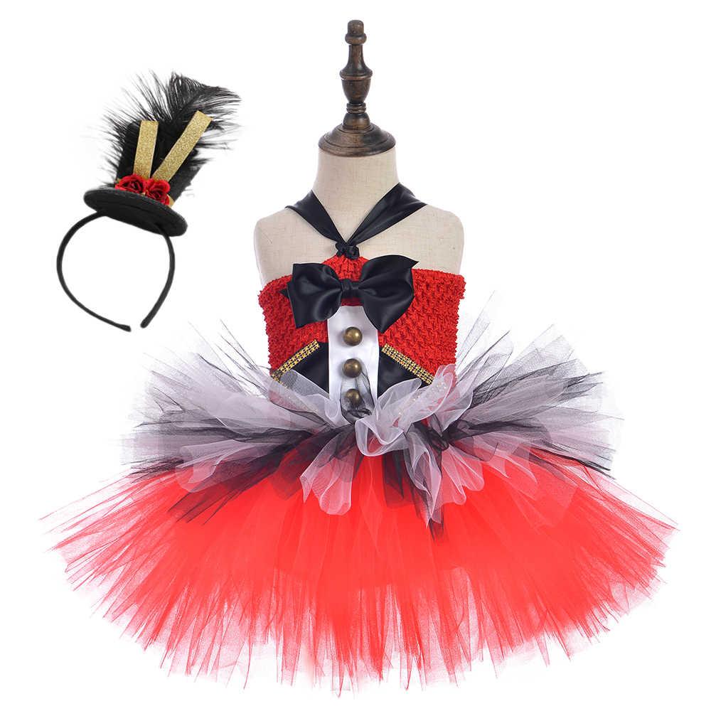 Circus Ringmaster หญิง Tutu ชุดสีแดงและสีขาววันเกิดชุดเด็กคริสต์มาสฮาโลวีนเครื่องแต่งกายแฟนซี