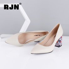 Купить с кэшбэком RJN Sexy Pointed Toe Shallow Pumps Fashion Comfortable Square Heels High Quality Soft Sheepskin Slip-On Shoes Ladies Pumps R39