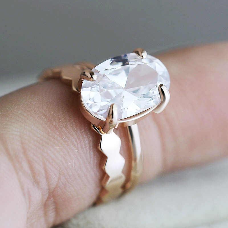 Huitan Luxe 2Pc Engagement Ring Set Rose Goud Met Zirconia Romantische Valentijn Dag Gift Wedding Band Ringen Voor vrouwen
