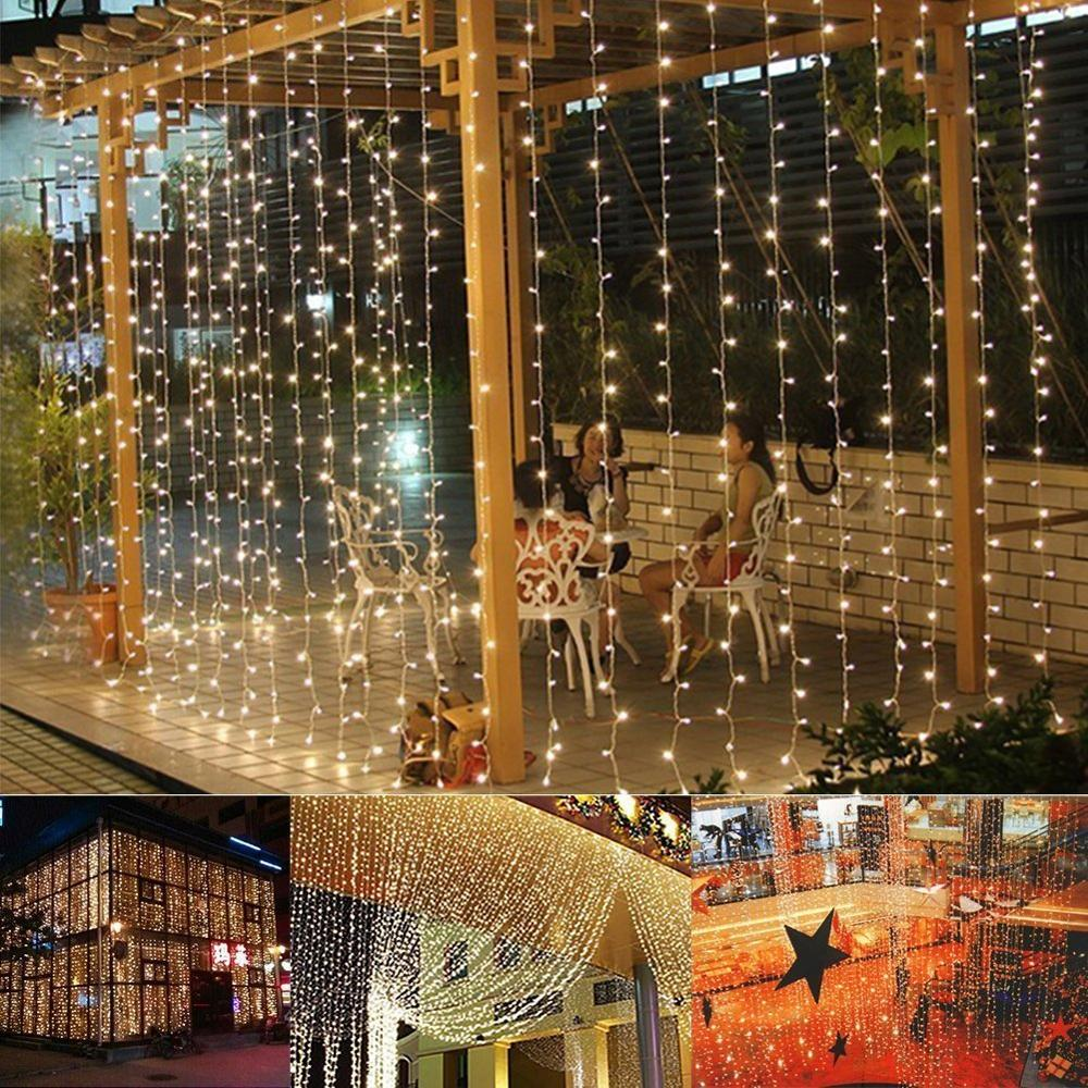 Binval 3X3M LED Curtain Christmas Wedding Holiday Fairy String Light For Party Home Garden Bedroom Indoor Wall Lamp Decorations