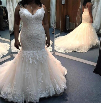 Lace Applique Wedding Dresses Plus Size Spaghetti Court Train Wedding Gowns Back Lace-up Mermaid Style Custom Made Bridal gowns long white mermaid v neck open back lace court train sexy vintage formal wedding dresses fashion wedding gowns custom made