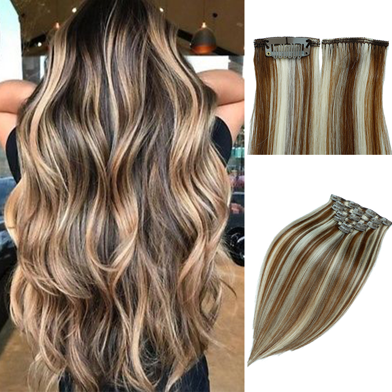Leshine Clip In Human Hair  Double Weft Indian Remy Hair 7pcs  Silky Straight 100% Natural Human Hair Clip In Extension
