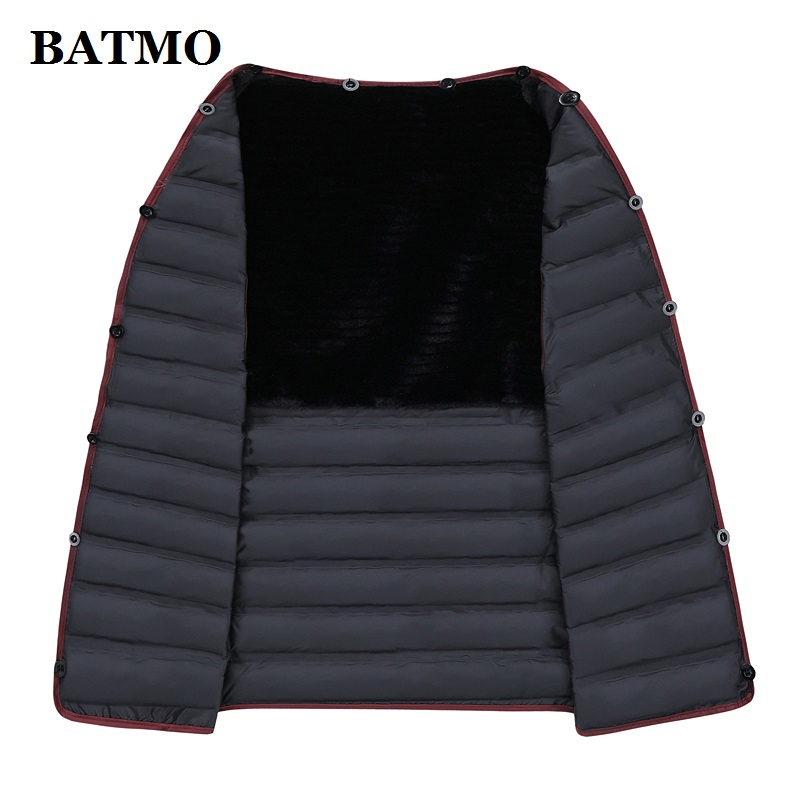 BATMO 100% шерстяной Тренч для мужчин, мужские 90% белые куртки из утиного пуха, толстое шерстяное пальто для мужчин, большие размеры M-XXXL