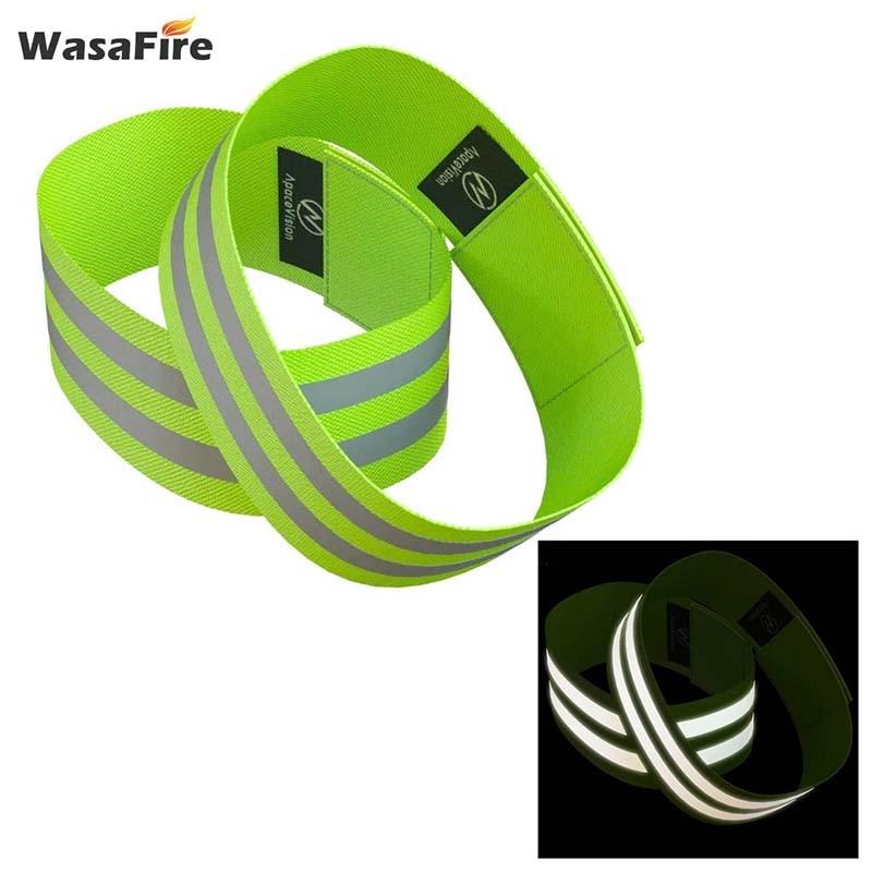 2 sztuk elastyczne ramię odblaskowe opaski nadgarstek kostki nogi pasy noc Jogging Walking ostrzeżenie o bezpieczeństwie taśma odblaskowa