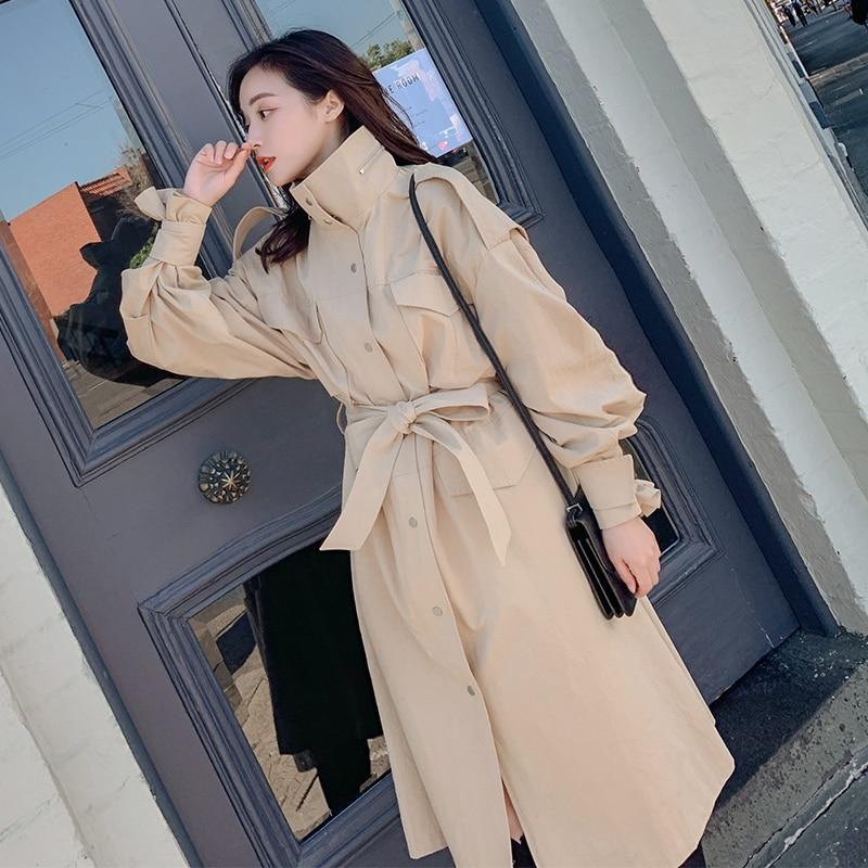 Autumn and winter over the knee   trench   coat women long section windreaker 2019 autumn Korean new fashion women windbreaker B579