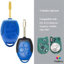 Дистанционный ключ KEYECU для автомобиля-3 кнопки 433 МГц 4D63 чип-брелок для Ford Transit WM VM 2006 2007 2008 2009- 2014 P/N: 6C1T15K601AG