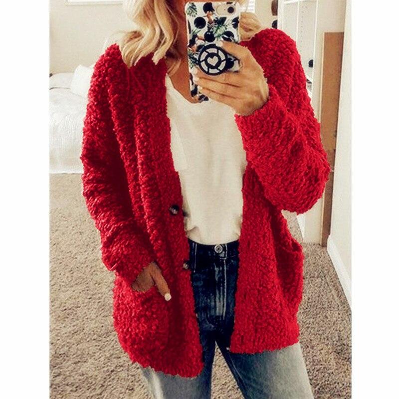 Women Winter Fluffy Long Sleeve Jacket Ladies Warm Outerwear Cardigan Long Coat