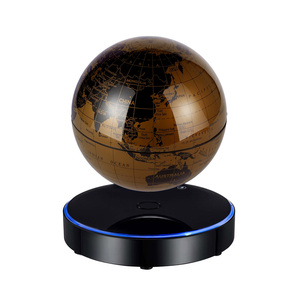Magnetic Levitating World Map Globe with LED Light Base Anti-Gravity Floating Rotating 6 Inch Globe Earth Ball for Educational