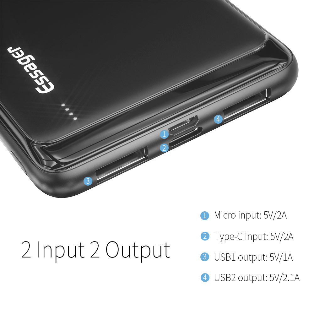 Essager, 10000 мА/ч, внешний аккумулятор, тонкий, USB, 10000 мА/ч, внешний аккумулятор, портативное зарядное устройство для Xiaomi Mi, 3, iPhone, повербанк