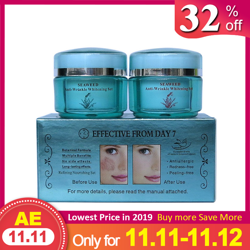 New FEIQUE SEAWEED Remove Wrinkle Cream Anti Freckle Cream 20g+20g Facial Cream 4sets/lot Face Care