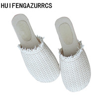 HUIFENGAZURRCS-Summer Weave Slippers,the retro art mori girl Retro Handmade Leisure Art Semi-Baotou Womens Shoes,3 colors