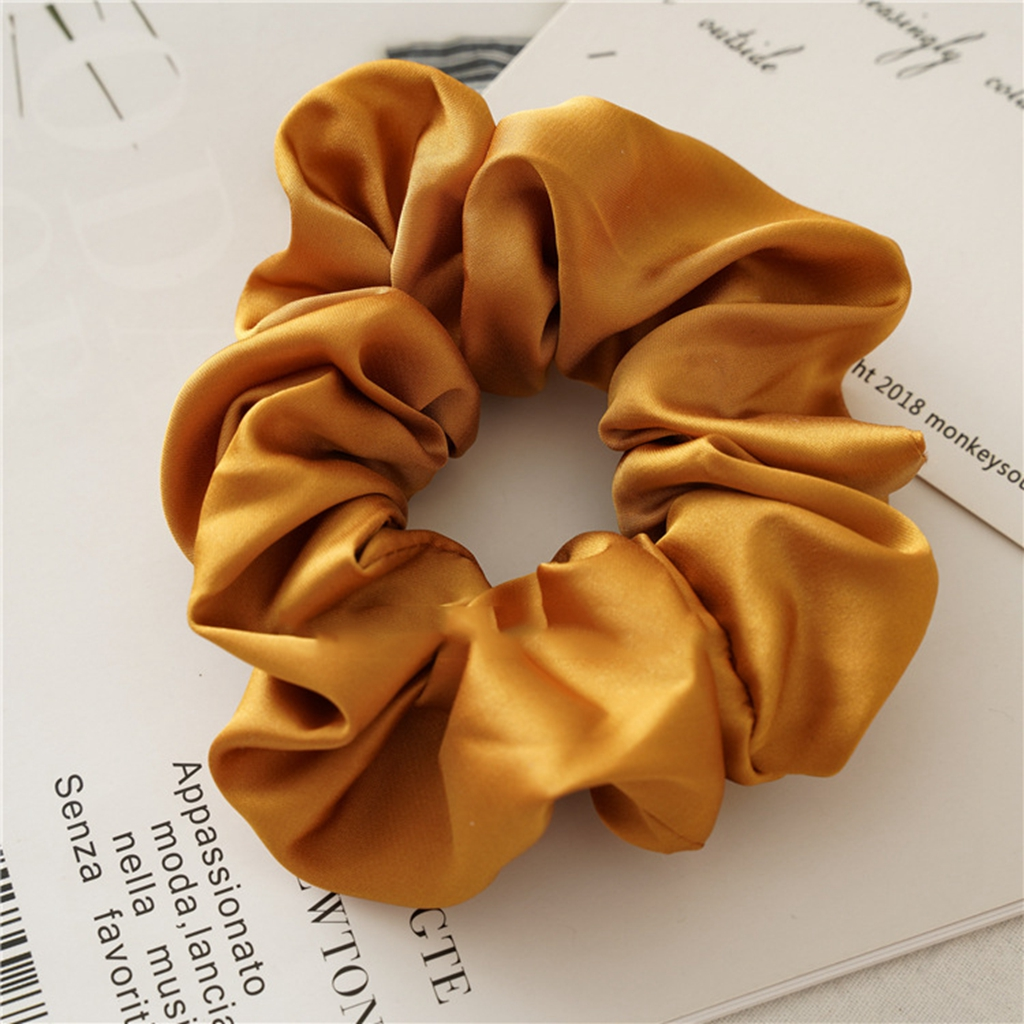 silk satin hair scrunchies set of 2 black