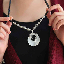 цена на Opal Stone Beads Chain Long Necklace Women Silver Fox Pendants Vintage Sweater Chain For Woman 2019 Crystal Rhinestone Necklaces