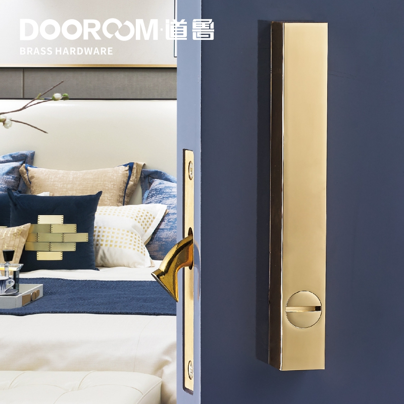 Dooroom Brass Sliding Door Lock Set Handles LOFT Nordic Push Pull Wood Door Interior Living Room Bathroom Balcony Kitchen
