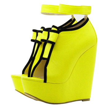 Minan Ser New Women's wedge sandals, yellow patchwork black bow-tied fashion sexy wedge sandals