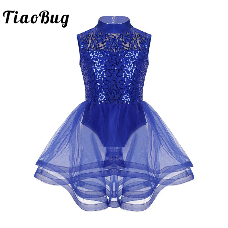 TiaoBug Shiny Sequins Mesh Tutu Ballet Figure Skating Dress Girls Gymnastics Leotard Kids Performance Competition Dance Costume