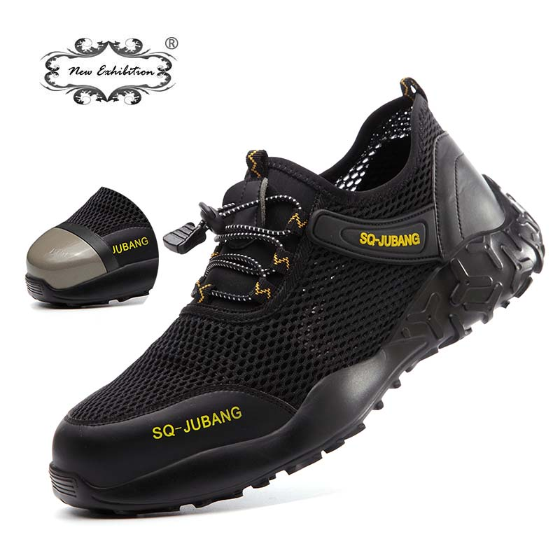 New Exhibition Fashion Hiking Men Shoes Lightweight Breathable Mesh Anti-smashing Steel Toe Cap Safety Shoes Casual Work Sneaker