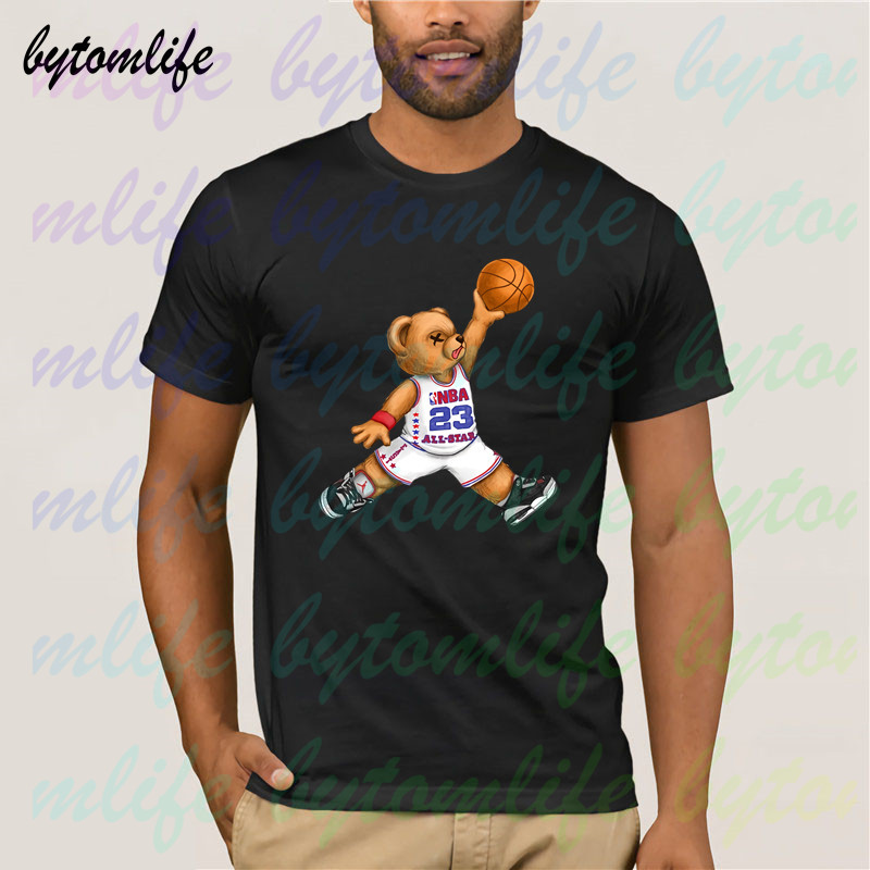 Michael Jordan Bear All-star T Shirt Summer Black T Shirt Clothes Popular Shirt Cotton Tees Amazing Short Sleeve Unique Men Tops