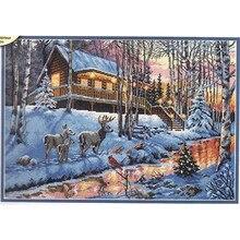 Gold Collection Telpatroon Winter Cabine Chalet Hut Sneeuw Herten en Rivier Brook Creek dim 08976