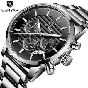 Image 2 - 2020 BENYAR למעלה מותג יוקרה גברים של שעונים מקרית אופנה הכרונוגרף ספורט צבאי קוורץ שעון יד שעון Relogio Masculino