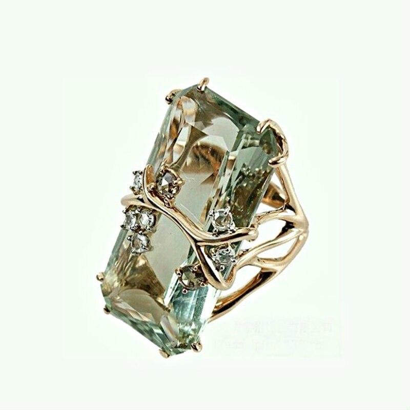 Женское квадратное кольцо с цирконием, роскошное зеленое кольцо с кристаллами, на годовщину, W4P459|Обручальные кольца|   | АлиЭкспресс