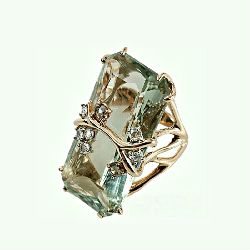 Женское квадратное кольцо с цирконием, роскошное зеленое кольцо с кристаллами, на годовщину, W4P459