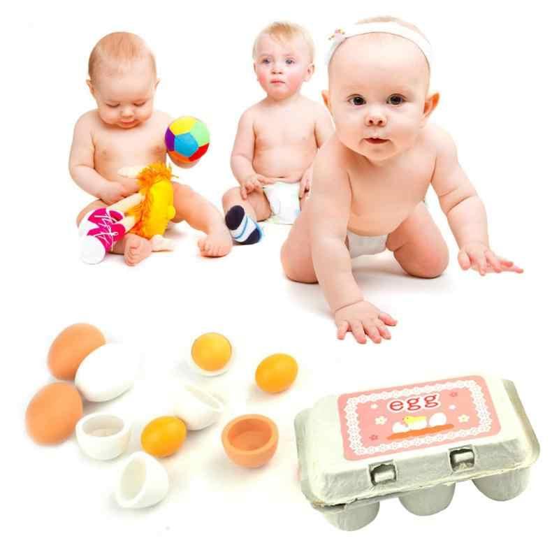 6 sztuk symulacja drewniane jaja zestaw zabawek dzieci udawaj zagraj w drewno jedzenie jaja żółtko do kuchni do jedzenia dzieci Kid edukacja zabawki Montessori