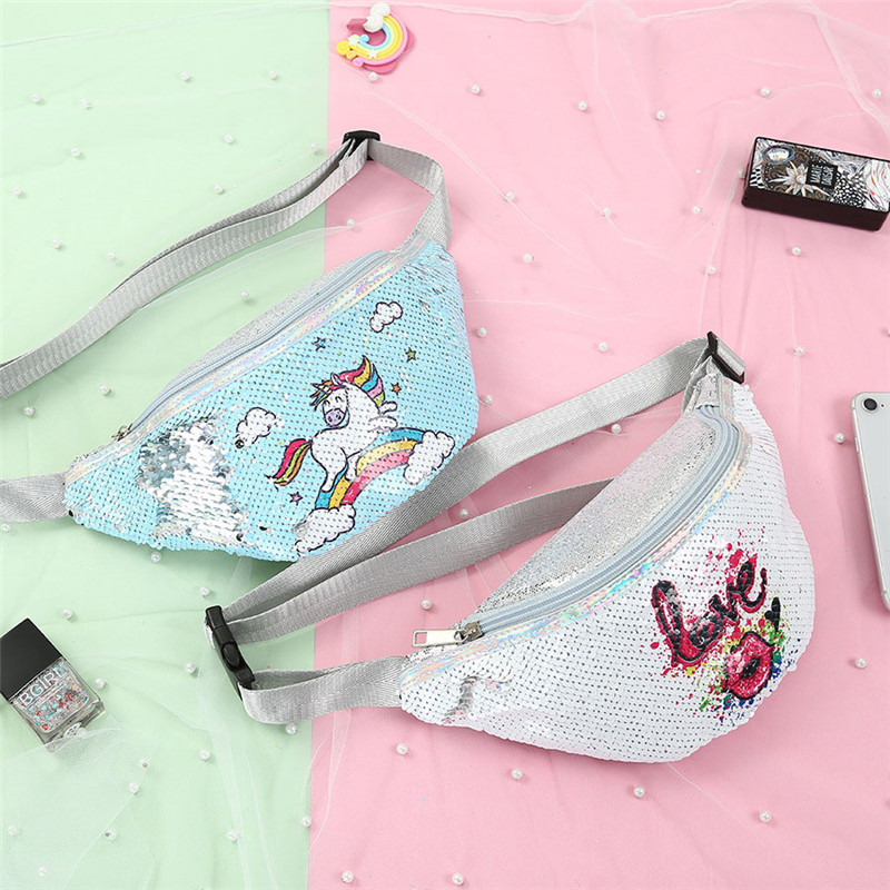 Women Waist Bags Sequins Shoulder Diagonal Pockets Shiny Mermaid Fashion Female Chest Pockets Waist Bag Fanny Pack For Women