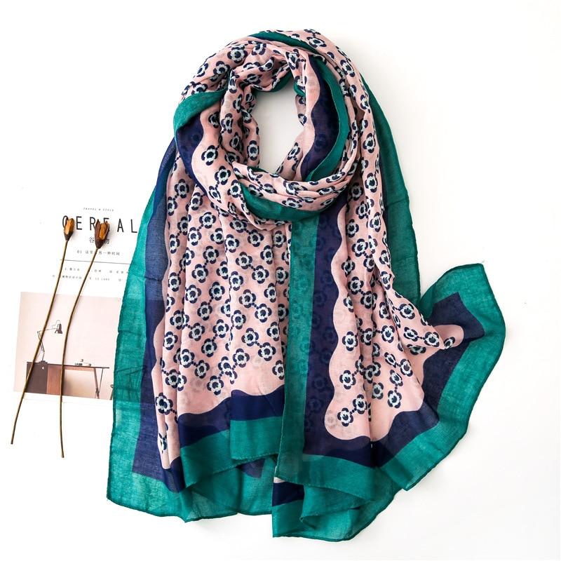 Ladies New Fashion Polka Floral Viscose Shawl Scarf Autumn Winter Wraps And Scarves Pashmina Foulard Stole Muslim Hijab 180*90Cm