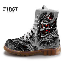 2019 New Style Men's Fashion Boots Skull Print Mid-calf Motorcycle Combat Boots for Man Outdoor Sneakers Custom Shoes(China)