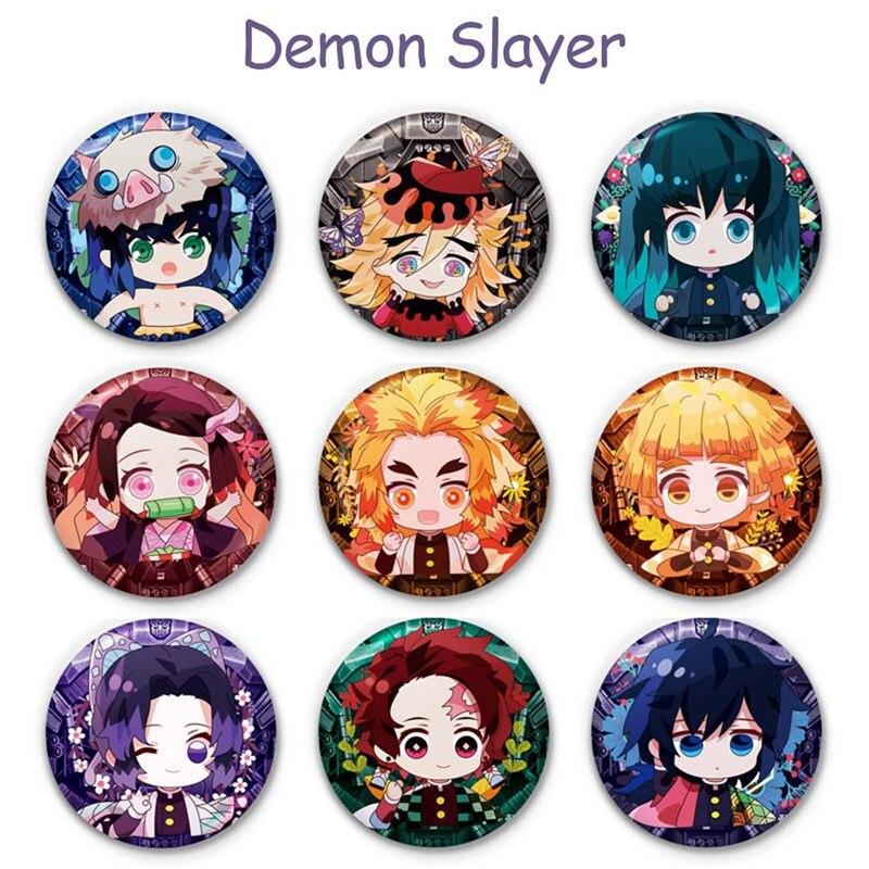 Anime Demon Slayer: Kimetsu No Yaiba Kamado Tanjirou Pin Button Anime Character Pin Button Brooch Badge