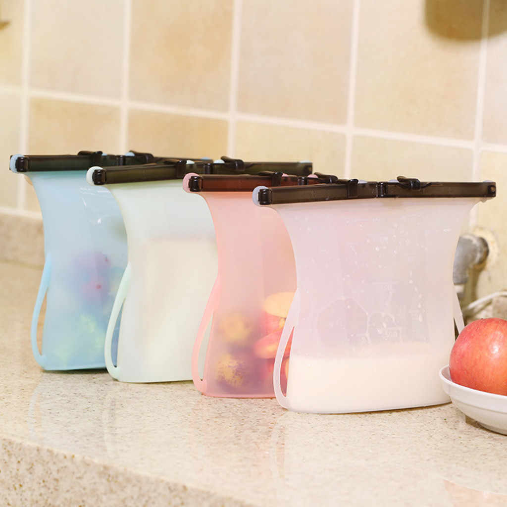 Reusable Seal Silicone Food Fresh Bag Vacuum Sealer Fruit Meat Milk Storage Bags Waterproof Organizer Cotton Linen Sundries