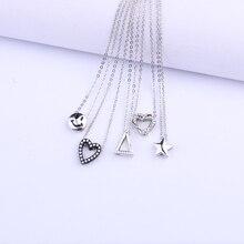 цены 2020 Fashionable heart-shaped delicate pendant. Initial necklace silver ladies necklace pendant jewelry gift Ожерельеизгребешка