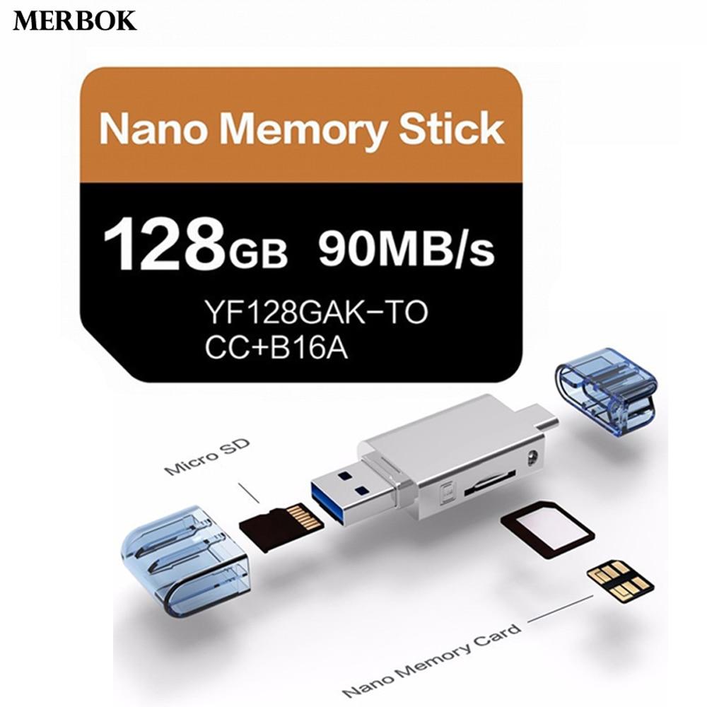 NM Nano Cartão de Memória Do Cartão Para Huawei Mate20/P30 Pro 128GB 90 MB/S NM-Card Com USB3.0 gen 1 Tipo-C Uso Dual TF/Leitor de Cartão NM