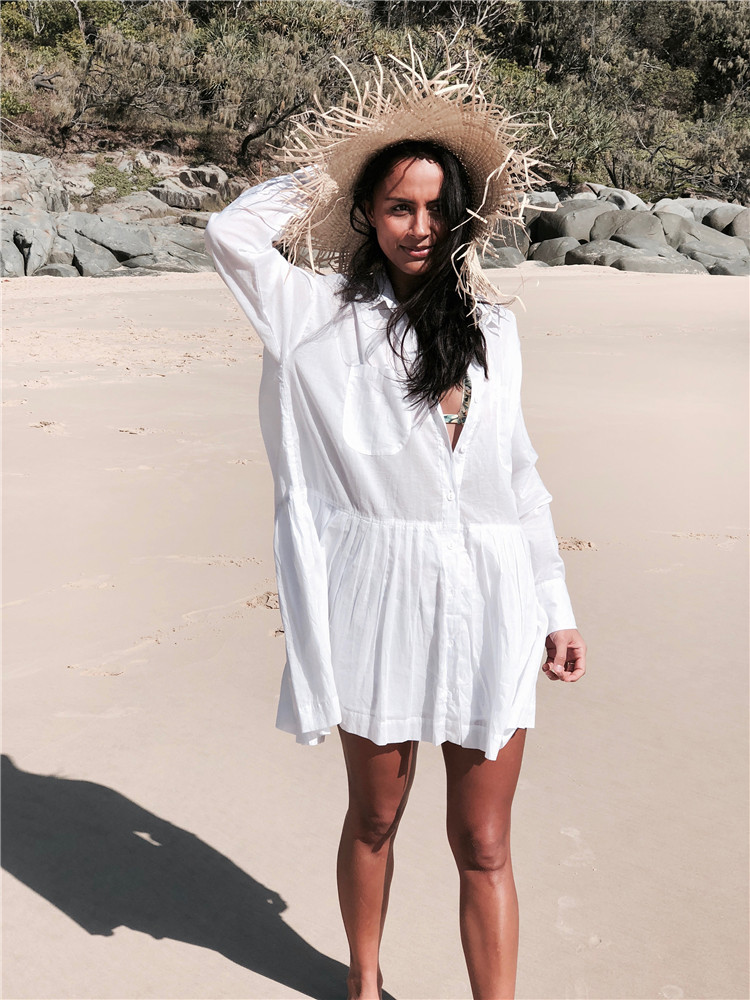 European And American Cotton Shirt-with Pocket Beach Skirt Bikini Cover-up Holiday Sun Shirt Single Breasted Blouse