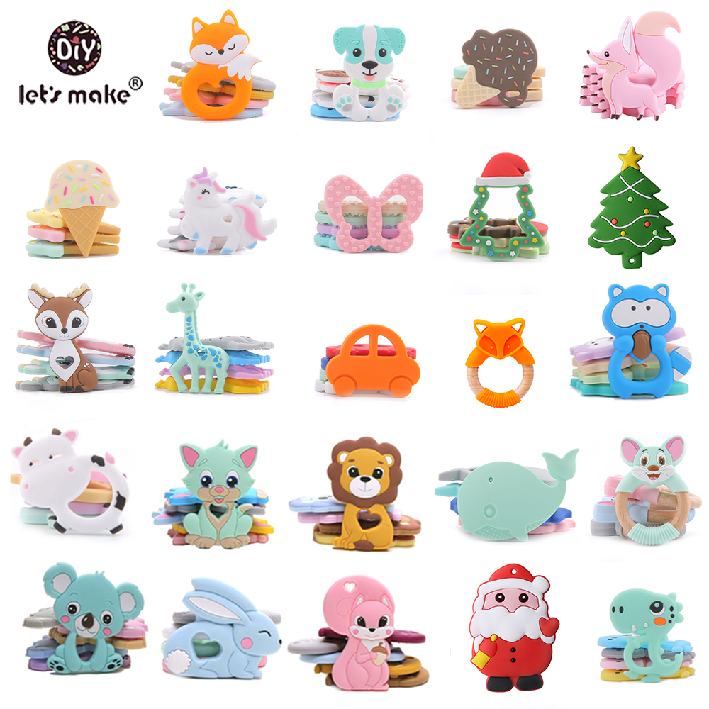 6cm Silicone Teether Baby Teether Animal Chewy Baby Teething Baby Silicone Beads Unicorn Christmas Tree Giraffe Teether Bpa Free