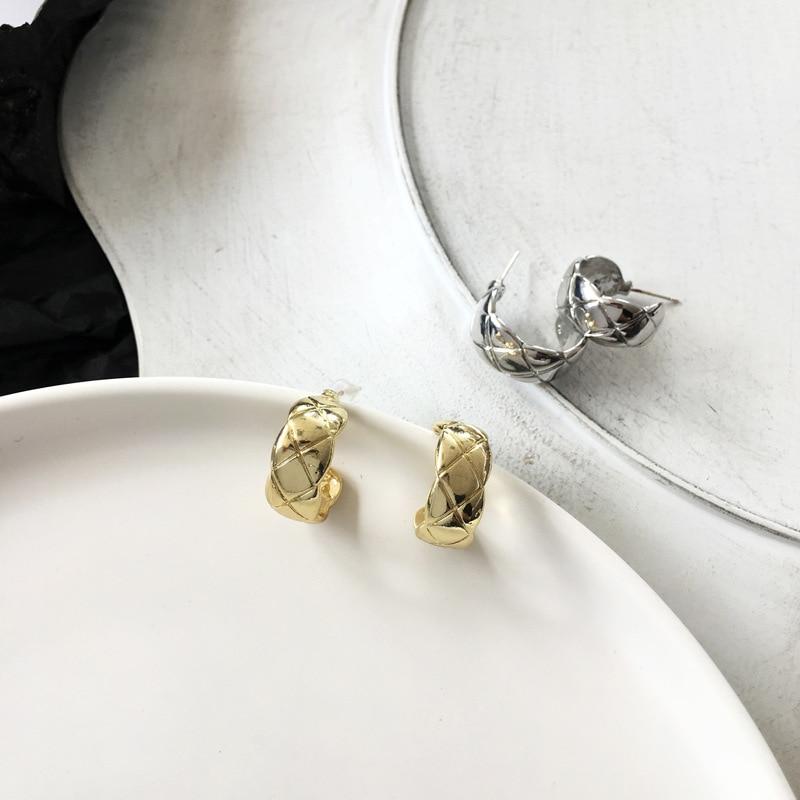 S925 Needle Simple Width Texture Hoop Earrings Fashion Jewelry Metallic Earrings Gifts For Women Girl Party Wedding