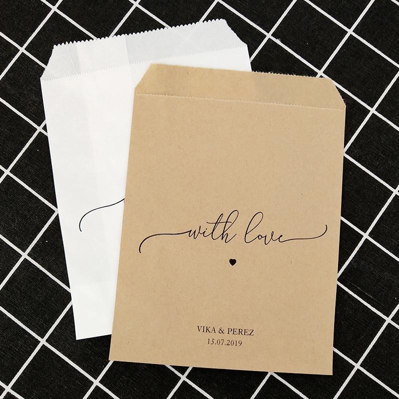 Custom Personalised NAME DATE Paper Wedding Engagement Favour Bag