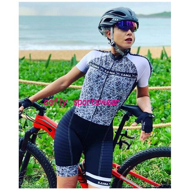 Xama pro equipe conjunto de ciclismo feminino pequeno macaco ciclismo camisa terno manga curta macacão triathlon roupas 5