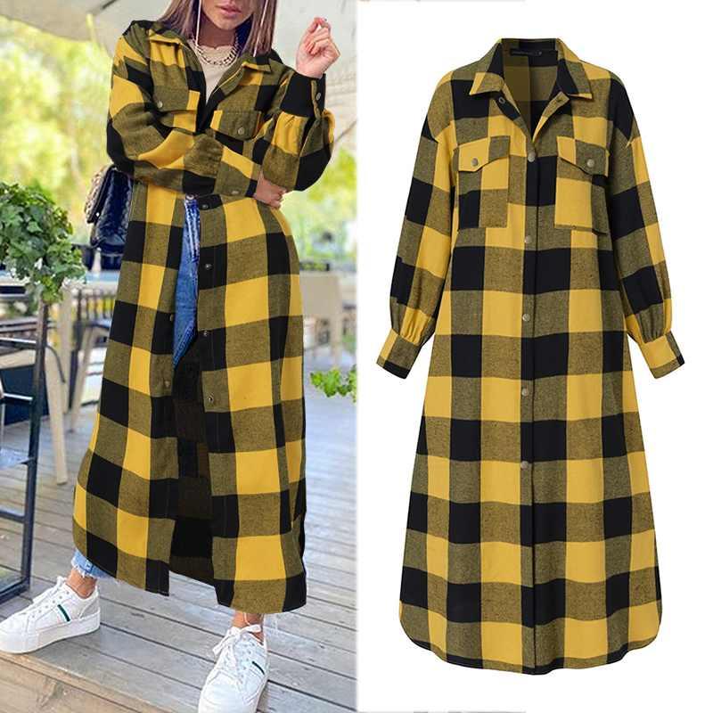 Plaid Jackets Shirts Coats Long Outerwear Winter Women Oversized Long-Sleeve Autumn Fashion